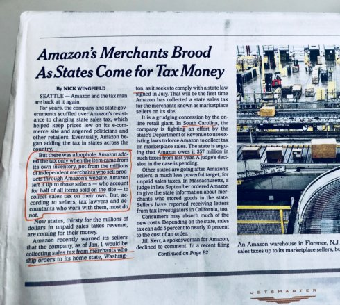 Today's Times highlights the current loophole that Amazon