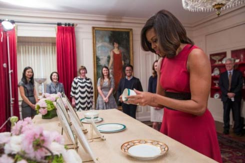 First Lady Michelle Obama Holding Pickard White House China Service Cup