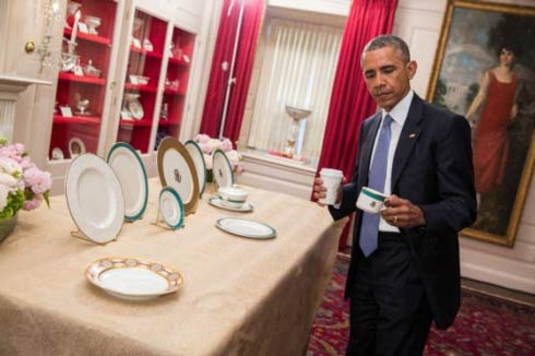 President Barack Obama Holding Pickard White House China Service Cup