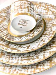 Royal Limoges Recamier - TWEED WHITE&GOLD Tea cup
