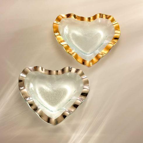 "Annieglass  Ruffle 8"" heart bowl $80.00"