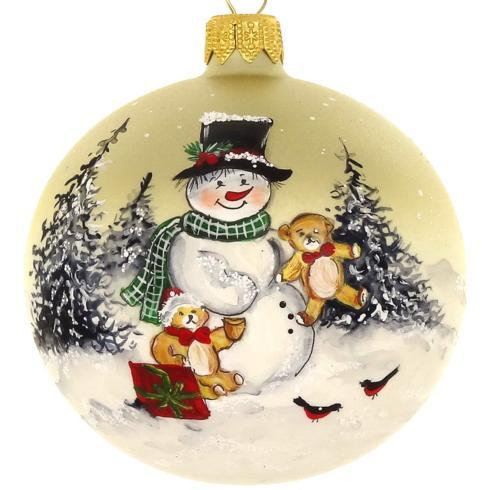 "$39.95 Hand Painted Santa and Puppy European Mouth Blown & Hand Decorated 4"" Round Ornament"