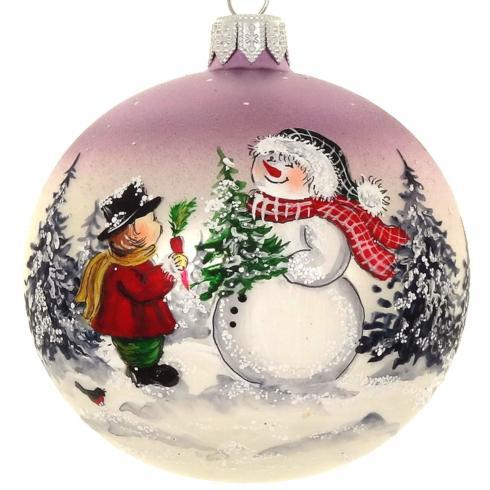 "$39.95 Hand Painted Santa and Boy European Mouth Blown & Hand Decorated 4"" Round Ornament"