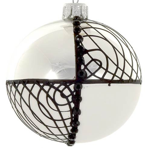 """$49.00 4 Pc Set  Black  & White Mouth Blown Polish Glass Ornaments  4"""""""
