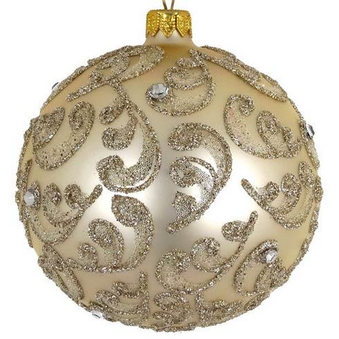 "$29.00 Champagne Stones Mouth Blown Polish Glass Ornament 4"""