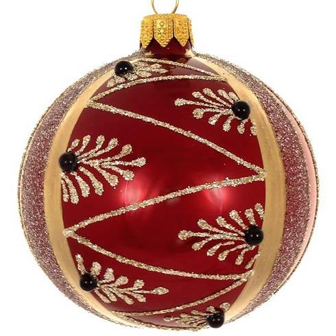 "$49.00 4 Pc Set Burgundy Pearl Mouth Blown Polish Glass Ornaments 4"""
