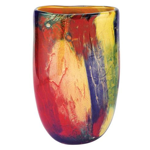 "$109.95 Firestorm Murano Style Art Glass 11"" Oval Vase"