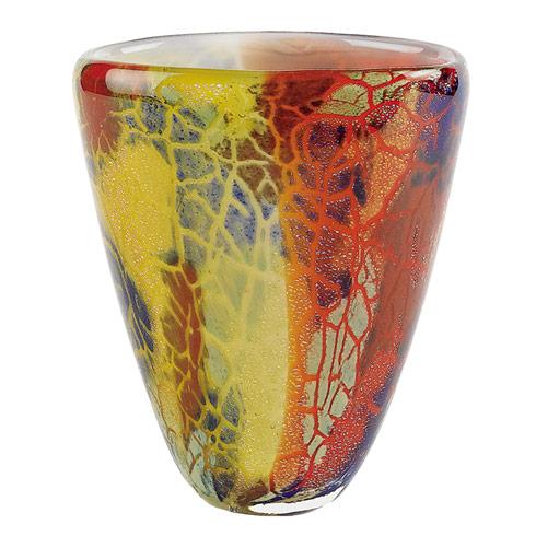 "$79.95 Firestorm Murano Style Art Glass 8"" Oval Vase"