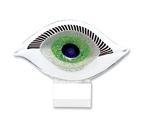 "$79.00 Visionary Good Luck Murano Style Art Glass Eye Centerpiece H 7.5"" x L 10"""