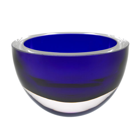 $79.00 Penelope Cobalt Mouth Blown European Lead Free Crystal 6 in. Bowl