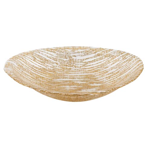 "$54.95 Secret Treasure Gold Mouth Blown Glass 15"" X 9"" Oval Bowl"