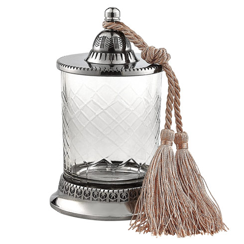 """$24.00 Hand cut Jar With Tassel / No Candle H6.5""""- Great for Qtips!"""