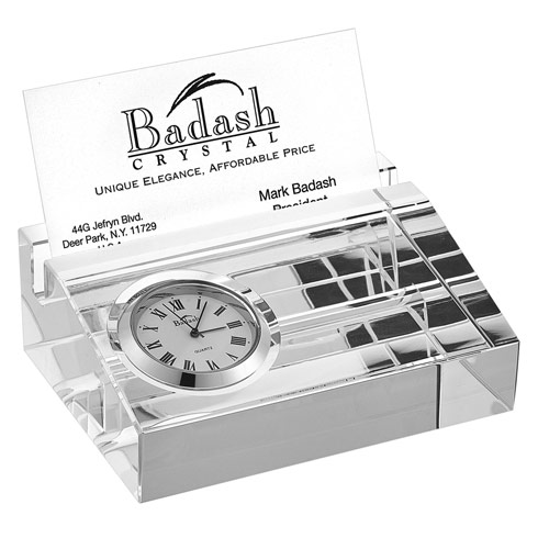 $49.95 Crystal Business Card holder with Inlaid Clock