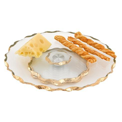 "$58.95 Hand Decorated Gold Leaf Chiseled Edge 13"" Smooth Turning Platter"