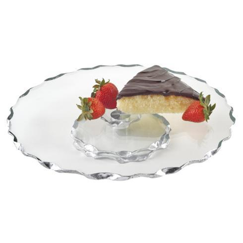 """$58.95 Hand Painted Silver Chiseled Edge 13"""" Smooth Turning Platter"""