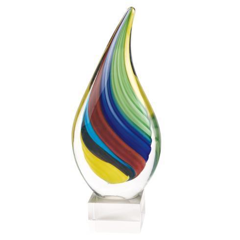 """$109.00 Rainbow Murano Style Art Glass Tear Drop  Centerpiece on Crystal Base H13"""""""