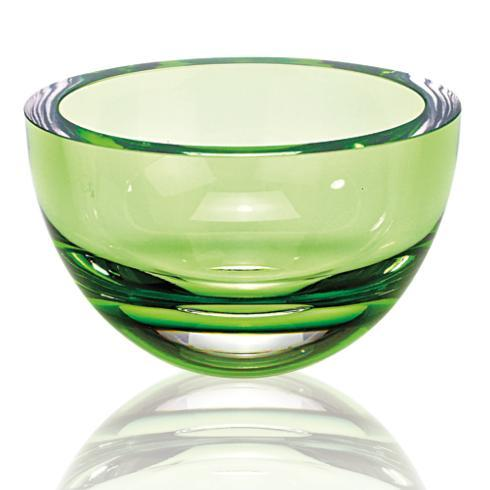 $79.00 Penelope Spring Green Mouth Blown European Lead Free Crystal 6 in. Bowl