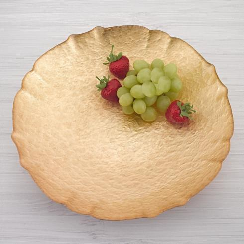 """$39.00 Victoria Authentic Gold Leaf on Glass 12"""" Bowl"""