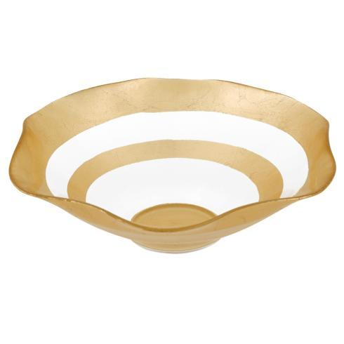 """$39.00 The Wave - Authentic Gold Leaf Decorated Glass 8""""Bowl"""