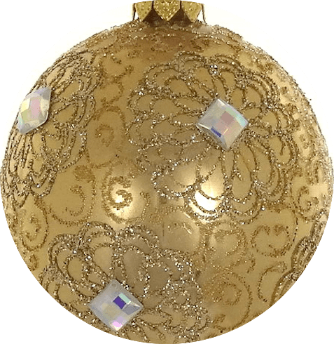 "$24.95 Gold & Clear European Mouth Blown & Hand Decorated 3.25"" Round Ornament"