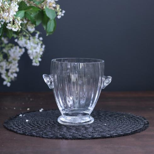 $45.00 Bohemian Glass Ice Bucket Clear