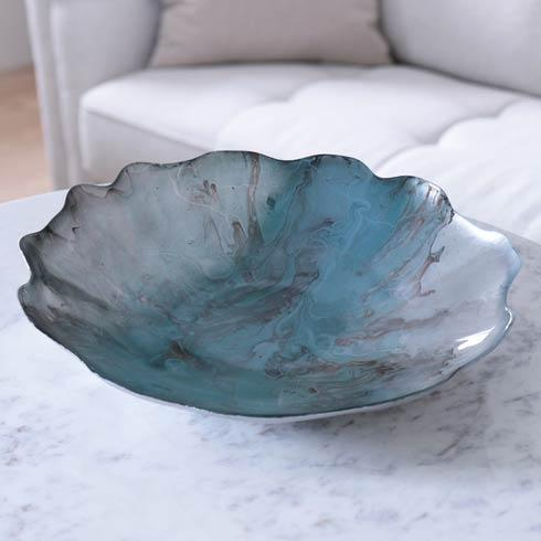 Beatriz Ball  New Orleans Glass Light Teal Silver Foil Centerpiece w/ Scalloped Edges $88.00