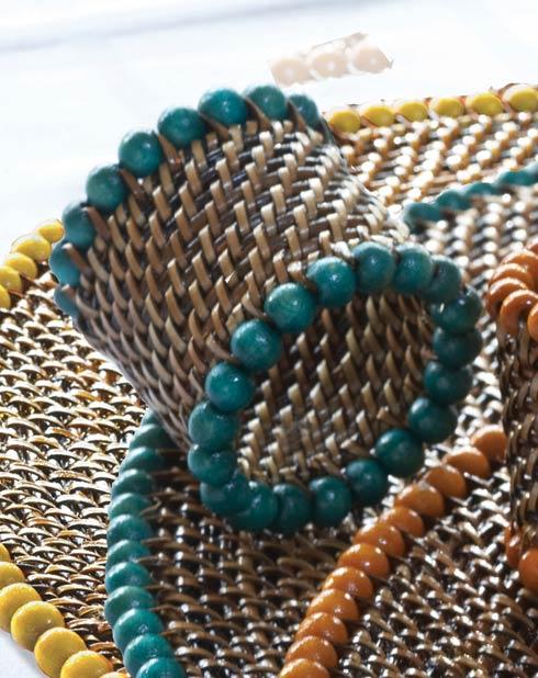 $31.00 Beaded Napkin Ring Sea Green