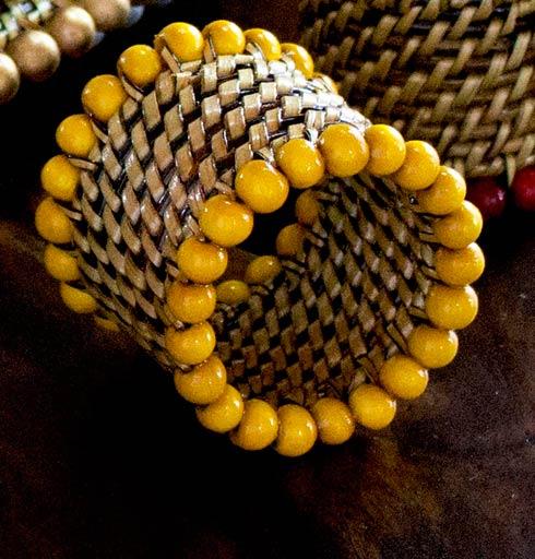 $31.00 Beaded Napkin Ring Yellow