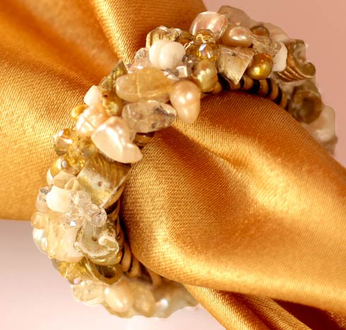 Jewelled Napkin Ring Gold Diva image