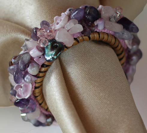 $58.00 Jewelled Napkin Ring Lilac