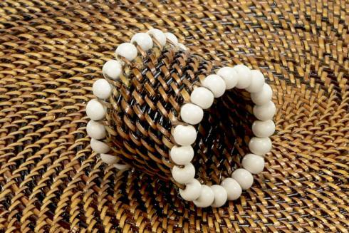 Beaded Napkin Ring White Set of 4 pcs image