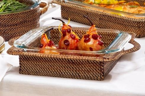 $80.00 Basket with Glass Bakeware 1QT