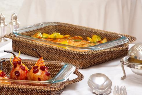 $100.00 Basket with Glass Bakeware 3QT