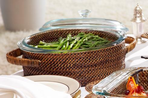$87.00 Basket with Glass Bakeware 2QT