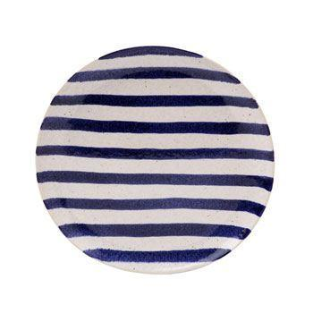 Salad Plate, Blue Stripes