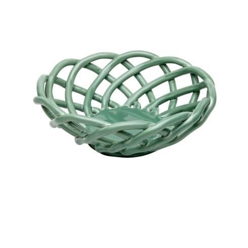 $53.00 Medium Round Basket, Turquoise