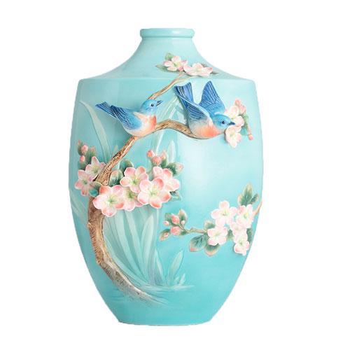$2,057.00 Vase, Bluebird on apple tree (LE)