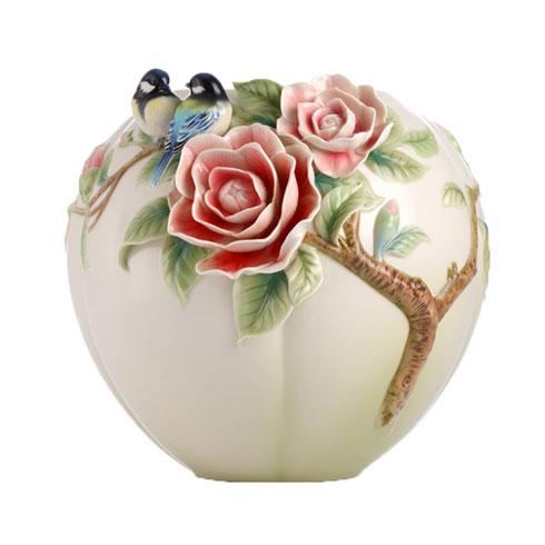 $990.00 Vase, Chickadee/camellia