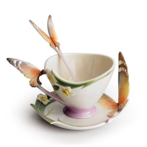 Cup, Saucer, Spoon Set, butterfly