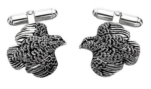 $250.00 Quail Cufflinks - Pair - Sterling Silver