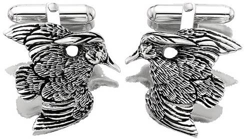 $250.00 Wood Duck Cufflinks - Pair - Sterling Silver