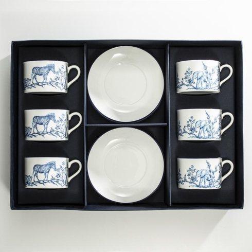 $595.00 Serengeti Tea Cup & Saucer Set of 6