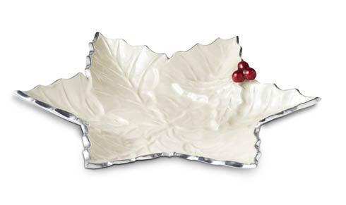 "$99.00 Holly Sprig 12"" Starflake Bowl Snow"