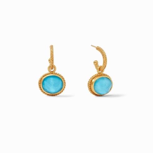$135.00 Calypso Hoop & Charm Earring Iridescent Pacific Blue