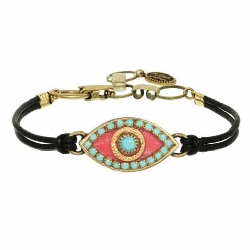 $55.00 Medium pink evil eye bracelet