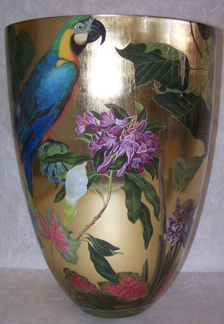 Contemporary Vase Blue Parrot with Tropical Flowers on Gold