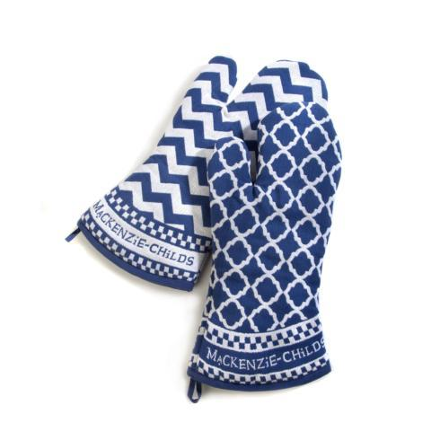 Blue & White Oven Mitts - Set of 2