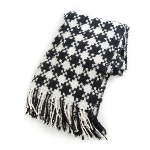 $68.00 Houndstooth Throw - Black & Ivory