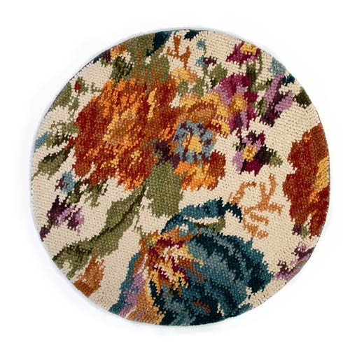 $950.00 Autumn Flowers Rug - 6\' Round - Ivory