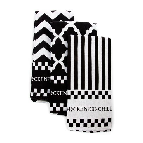 $40.00 Black & White Zig Zag Dish Towels - Set Of 3